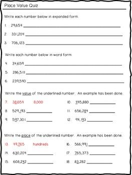 Place Value Quiz (through hundred-thousands)