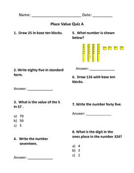 Place Value Quizzes