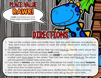 Place Value RAWR! {A War-Style Place Value Game}
