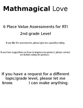 Place Value RTI Assessments -2nd grade level