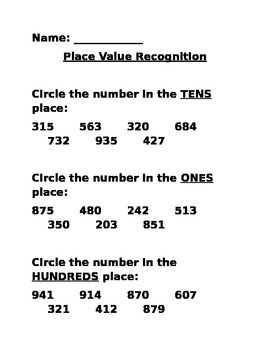 Place Value Recognition Quiz through the hundreds place