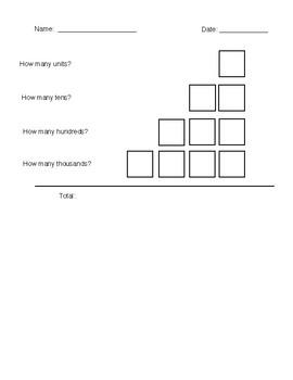 Place Value Recording Sheet - Montessori