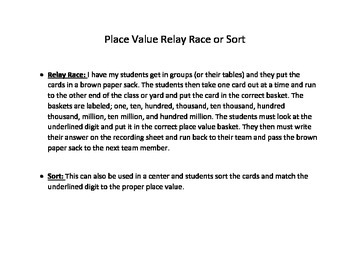 Place Value Relay Race or Sort