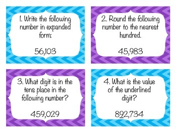 Place Value Review Common Core Task Cards With Answer Key