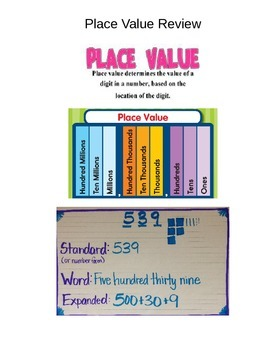 Place Value Review Coverpage