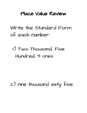 Place Value Review & Exit Ticket