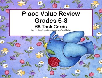 Place Value Review-Grades 6-8-Includes Decimals and Exponents-68 Task Cards