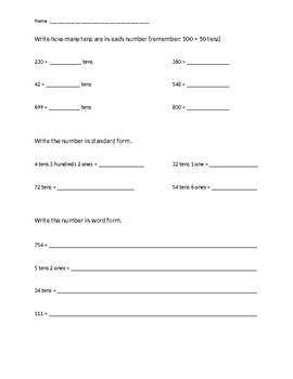 Place Value Review Packet
