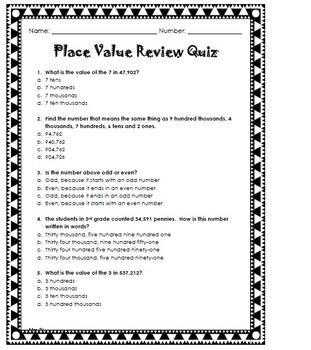 Place Value Review Quiz