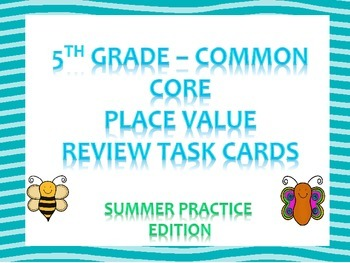 Place Value Review Task Cards - 5th Grade Common Core