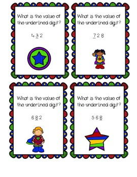 Place Value Review Task Cards-Super Hero