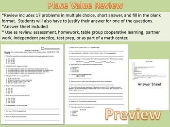 Place Value Review Worksheet: Rounding, Standard, Expanded and Word Forms