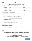 Place Value Review Worksheet or Homework