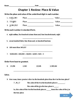 Place Value Review Worksheet Teaching Resources Teachers Pay Teachers Comparing Numbers Place Value Place Value Review Worksheet Or Homework Place Value Review Worksheet Or Homework