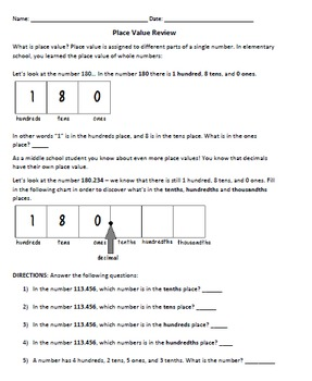 Place Value Review for Middle School Students