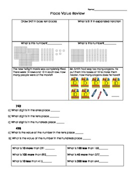 Place Value Review or Practice 2nd Grade