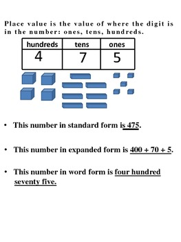 Place Value Review with Worksheets