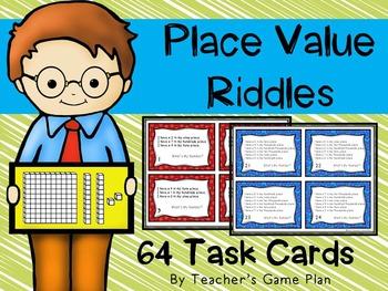 Place Value Riddles 2 Sets Task Cards