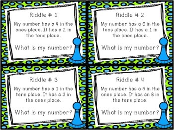 Place Value Riddles - Numbers within 100 Task Cards and Worksheet
