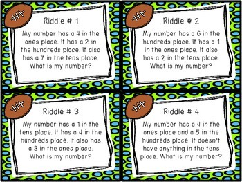 Place Value Riddles - Numbers within 1000 Task Cards and Worksheet