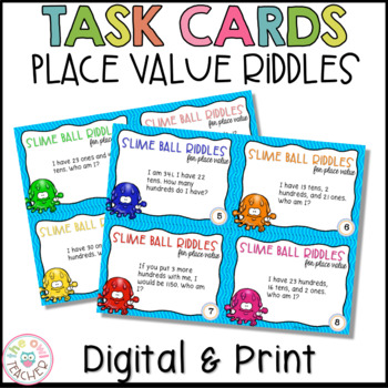 "Place Value Task Cards: ""Who Am I?"" Theme"