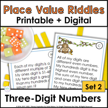 Place Value Riddles for Three-Digit Numbers ~ Monkeying Around