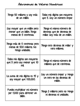 Place Value Riddles in Spanish