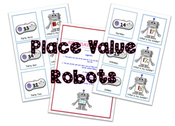 Place Value Robots game cards