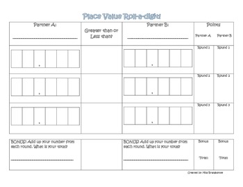 Place Value Roll-A-Digit