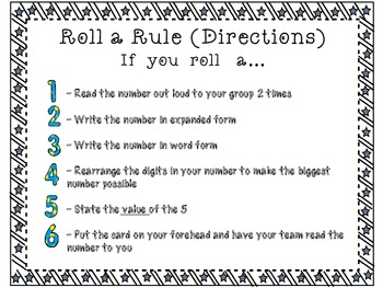 Place Value- Roll A Rule