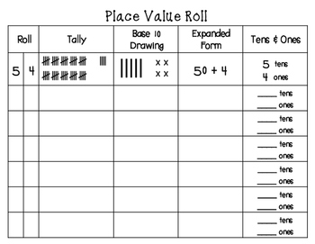 place value roll dice game number sense by doodles and smiles. Black Bedroom Furniture Sets. Home Design Ideas