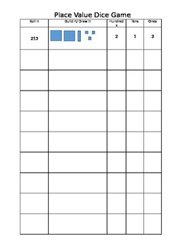 Place Value Roll It Game (Hundreds, Tens, Ones) EDITABLE