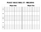 Place Value Roll It Game Millions