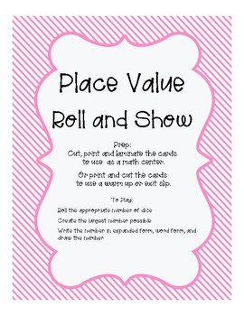 Place Value Roll and Show