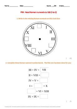 Place Value:  Roman Numerals