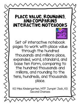 Place Value, Rounding, Comparing Math Interactive Notebook Pages