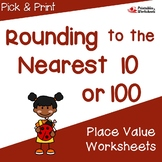 Rounding Nearest 10, 100 Worksheet, Rounding to Nearest 10 and 100 Number Line