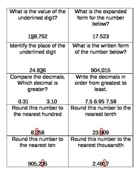 Place Value, Rounding, and Comparing Decimals