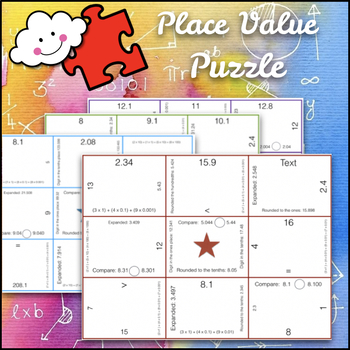 Math Puzzles: Place Value, Rounding, and Comparing Decimals