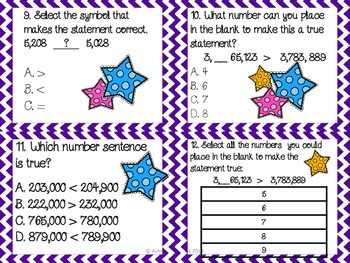 Place Value, Rounding, and Comparing Whole Numbers Task Cards