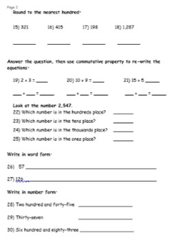 FREEBIE!: Place Value, Rounding, and Number Forms Test / Worksheet