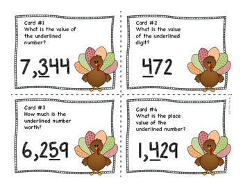 Place Value SCOOT - Turkey/Thanksgiving Theme - Place Value to 9,999