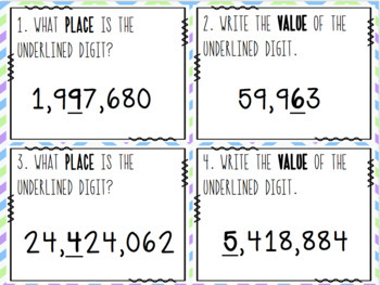 Place Value SCOOT! Game, Task Cards or Assessment