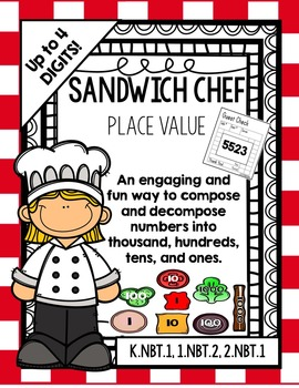 Place Value Sandwich Chef: 4-digit numbers (An interactive place value activity)