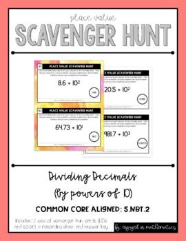 Place Value Scavenger Hunt #5: Dividing Decimals by Powers of 10
