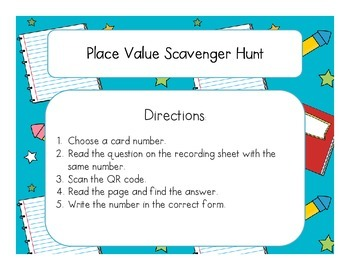 Place Value Scavenger Hunt Activity - Free