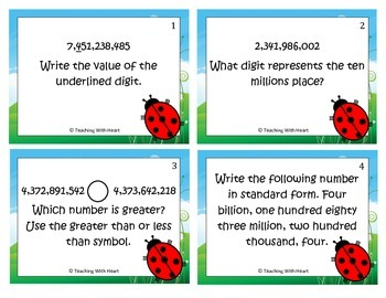 Place Value Scoot Activity/Task Card (Billions Place)