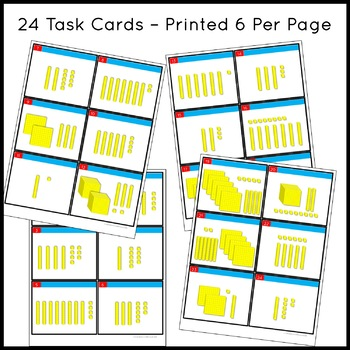 Place Value Task Cards with Base 10 Blocks