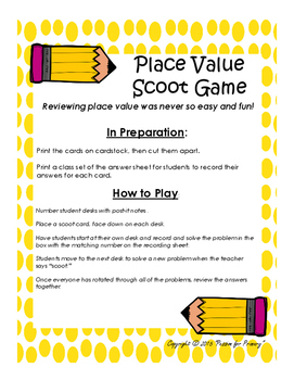 Place Value Scoot Game