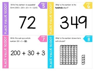 Place Value Scoot Game - Hundreds, Tens + Ones